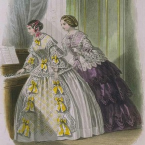 Fashion plate, from the Petit Courrier des Dames, July 1855