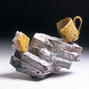 Gillian Lowndes, 'Cup on Base', stoneware with metal elements, height 180mm, width 233mm, 1986. Museum no. C.39-1987