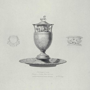Engraving of a design for a silver urn and stand by Rundell, Bridge & Co, presented to James John Farquharson in 1833. Museum no. E.216:1-2002