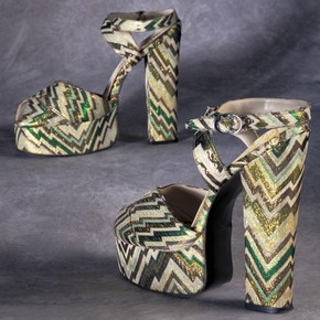 Lurex platform sandals, by Emma of London for Biba, 1972-3, UK. Museum no. T.460-1988