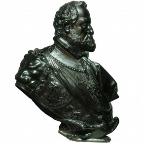 Bronze portrait bust of Emperor Rudolph II, by Adriaen de Vries, 1609, Prague, Bohemia (Czech Republic). Museum no. 6920-1860