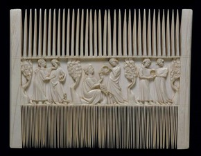 Ivory comb with scene of lovers in a garden, Paris, France, 1325-50. Museum no. A.560-1910