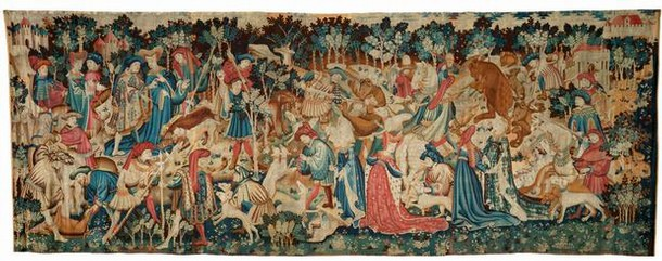 'Boar and Bear Hunt', woven wool tapestry, probably made in Arras, France, or Tournai, Belgium, 1425-30. Museum no. T.204-1957