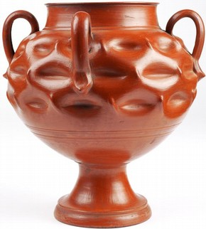 Unpainted earthenware dimpled ceramic Bucaro vase, Tonalá, Mexico, between 1600-1700. Museum no. 287-1872