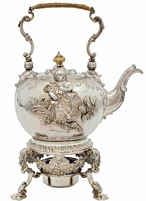 Silver kettle with ivory finial on cover and silver stand and lampm, Paul de Lamerie, London, 1736-38. Museum no. LOAN:GILBERT.675:1 to 4-2008, © Victoria and Albert Museum, London