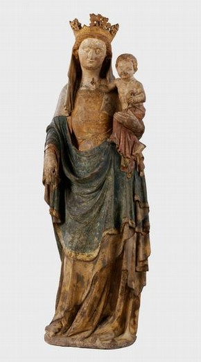 Virgin and Child Statue, limestone, painted and gilded, Ile-de-France, about 1340-1350, given by J. Pierpont Morgan