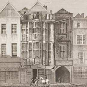 Sir Paul Pindar's house in about 1819. Engraving from London Illustrated published by Robert Wilkinson, 1819. NAL Pressmark 236.G.11