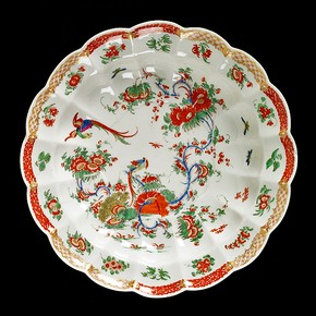 Plate with pheasant and plant design, Worcester porcelain factory, about 1765. Museum no. C.422A-1935
