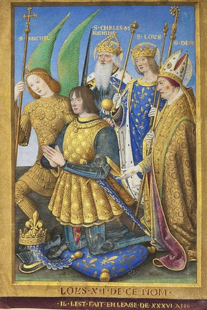 'Louis XII of France Kneeling in Prayer, Accompanied by Saints Michael, Charlemagne, Louis and Denis', by Jean Bourdichon, France, 1498/9. The J. Paul Getty Museum