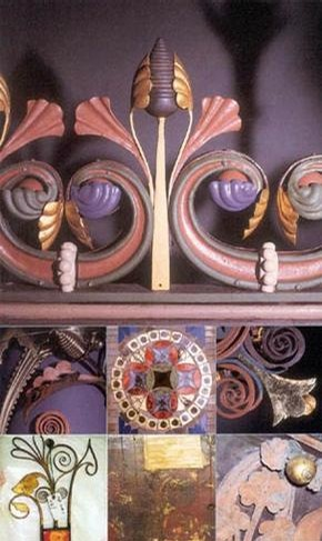 Photo 2: Detail from the Hereford Screen. The cresting shows the intricate polychromy. 250 paint samples were analysed under a microscope to establish the paint layer sequence.
