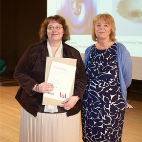 Nicola Long receiving the Access Prize from Head of Diversity Unit, Eithne Nightingale