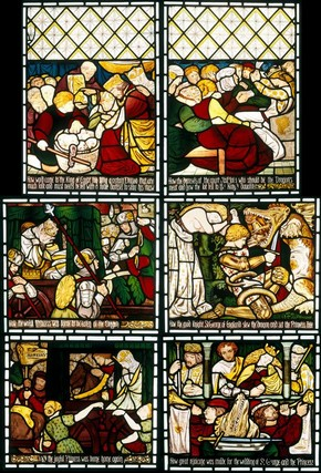 Stained glass window telling the story of St George, by Dante Gabriel Rossetti for Morris, Marshall, Faulkner & Co., England, about 1862. Museum nos. C.316-1927; C.315-1927; C.318-1927; C.319-1927; C.320-1927; C.317-1927
