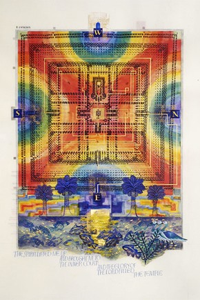 'Vision of the New Temple, Ezekiel 40: 1 to 48: 35', illuminated calfskin vellum bible page by Donald Jackson, 2005. Hill Museum & Manuscript Library