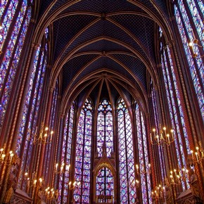 Interior of the upper church of Sainte-Chapelle, Paris, France. Photograph © Steven Ballegeer