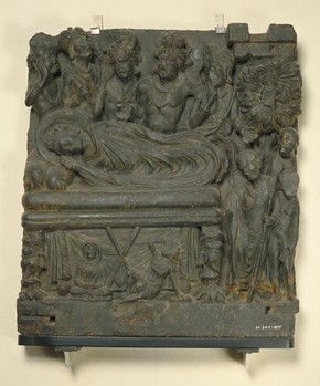 Figure 1 – Mahaparinirvana, sculpture, Pakistan, about 2nd century, carved schist, 53 cm x 48 cm. Museum no. Im.247-1927