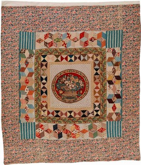 Figure 1 - King George III Golden Jubilee Quilt, 1810, England. Museum no. T.25-1961