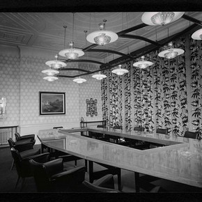 Photograph of conference room, Headquarters of the Glass Manufacturers' Federation, Portland Place 1955 Museum no. AAD/2008/3/1/1/10