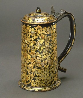 Tankard of lacquer on wood with inlaid mother-of-pearl. Japan, 17th century. Museum no. FE.23-1982