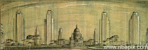 Suggested development for St Paul's area, Joseph Emberton, 1946 © RIBA Library Drawings Collection, www.ribapix.com