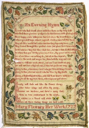 Sampler, 1737. Museum no. T.318-1960. Given by Miss MC Sparrow from the collection of Miss Marjory Bine Renshaw (click image for larger version)