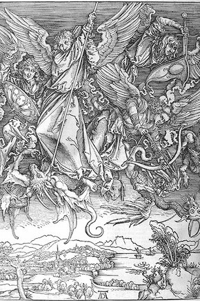 Figure 2. 'Apocalypse' woodblock of 'St Michael and his Angels fighting the Dragon' (25100:5), Albrecht Durer (Photography by Ann Marsh)