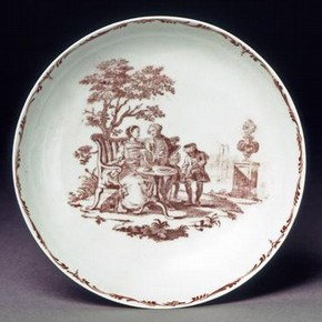 Tea-bowl and saucer, England, 1756-57, soft-paste porcelain. Museum no. C.96-1948