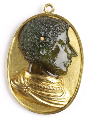 Cameo, Alessandro de'Medici, Duke of Florence, possibly Polo, Domenico di Florence (city), 1532-1537, Plasma (green chalcedony) in gold setting. Museum no. CIS 7553-1861