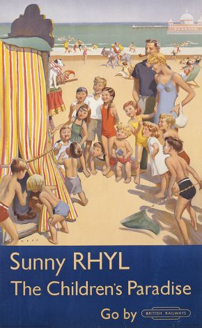 Sunny Rhyl by Douglas Lionel Mays, issued by London Midland Railways, 1952. Museum no. E.274-1952. © Victoria and Albert Museum, London.