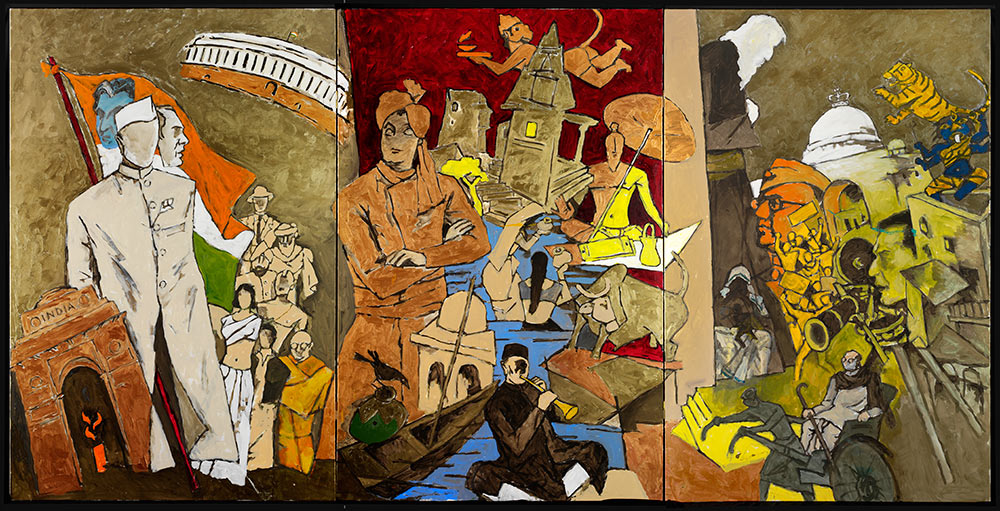 M.F. Husain, Tale of Three Cities, 2008-2011. Courtesy of Usha Mittal, © Victoria and Albert Museum, London