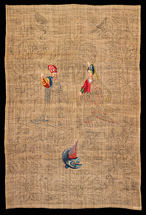 Unfinished needlework panel, about 1720-50, probably France, linen canvas with design drawn in ink, partly embroidered with wool and silk. Museum no. T.131-2012, © Victoria and Albert Museum, London