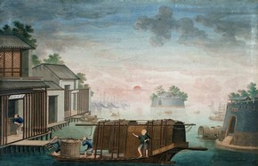 Porcelain arriving at Canton warehouse, painting, unknown maker, 1770-1790. Museum no. E.58-1910