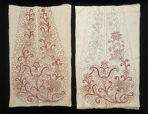 Pair of pockets, Britain, 1718-20. Museum no. T.41&A-1935