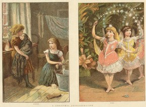 'A Christmas Transformation', illustration from 'The Publisher' magazine, 1881. © Victoria and Albert Museum, London