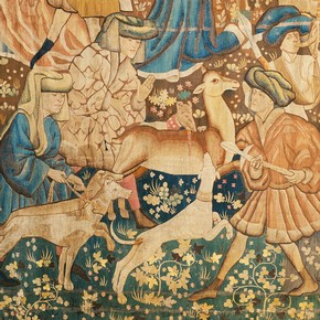 'Deer Hunt' (detail), woven wool tapestry, Netherlands, possibly Arras, 1440-50. Museum no. T.205-1957