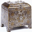 Casket, brass, with inlaid gold and silver, Iran, 1300-1350. Museum no. 459-1873