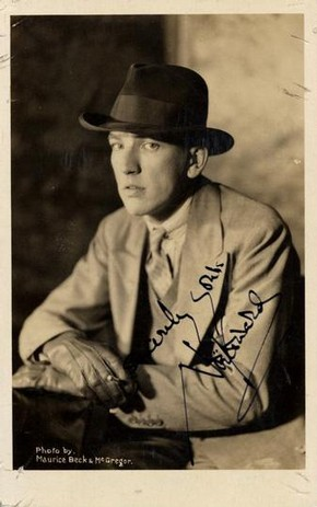Noël Coward, sepia tone photographic postcard, mid 20th century