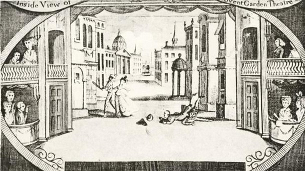 Harlequinade at Covent Garden Theatre, about 1770.
