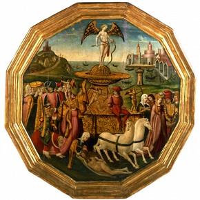 'The The Triumph of Love', tempera painting on wooden birth tray, from the workshop of Apollonio di Giovanni, Forence, Italy, about 1460-70. Museum no. 144-1869