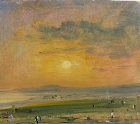 John Constable (RA), Coast Scene at Brighton: Evening, oil on paper, 1828, given by Isabel Constable