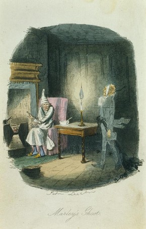 Print depicting the appearance of Marley's Ghost, from Charles Dickens' A Christmas Carol, John Leech, 1843. Museum no. E.985-1971