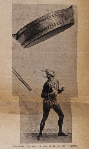 Newspaper cutting of Paul Cinquevalli catching a washtub on his head, January 1897. © Victoria and Albert Museum, London