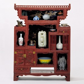 Display cabinet, China, 1720-1780. Museum no. FE.56 to B-1983