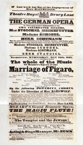 Playbill for Mozart's The Marriage of Figaro, Drury Lane Theatre, London, May 1841