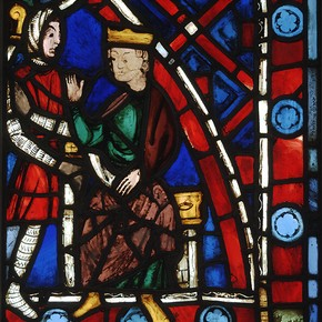 Childebert Receives St Germanus, stained glass panel, about 1240-5. Museum no. 5461-185