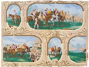 Wallpaper with design of framed horse-racing scenes, about 1870-80. Museum no. E.1819-1934