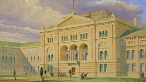 Sketch for the North Side of the inner quadrangle. Watercolour by Captain F. Fowke, c. 1865.