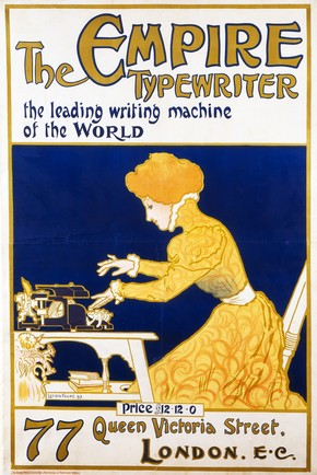 Lithograph poster for The Empire Typwriter, by Lucien Faure, London, England, UK, 1897. Museum no. CIRC.586-1962
