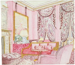 Design (detail) for a drawing room in a house in Holland Park, London, designed by John Stefanidis, 1985. Museum no. E.200-1986