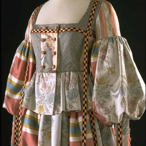 Detail of Renaissance evening outfit, Bill Gibb, 1972. Museum no. T.222 TO C-1974