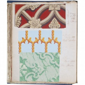 Page 22 (verso) from a wallpaper sample book, England, UK, 183744. Museum no. E.431:22-1943